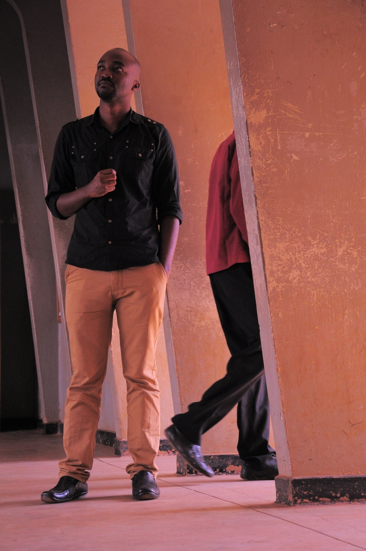 Roland Niwagaba performs in the Flash Theatre project in 2014